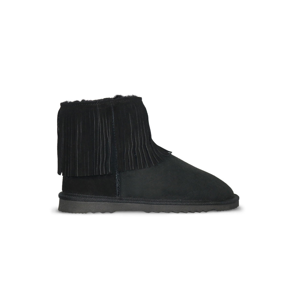 Classic Tribal Mini Black sheepskin ugg boot online sale by UGG Australian Made Since 1974 Side view