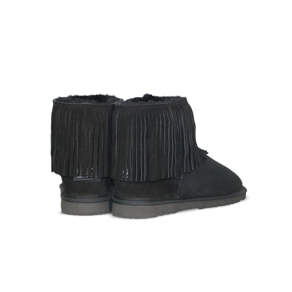 Classic Tribal Mini Black sheepskin ugg boot online sale by UGG Australian Made Since 1974 Back angle view pair