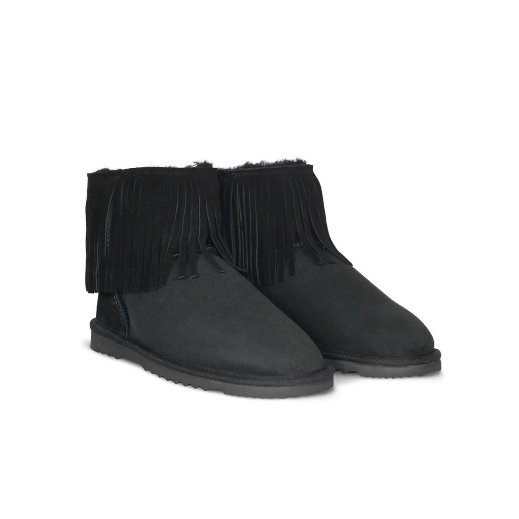 Classic Tribal Mini Black sheepskin ugg boot online sale by UGG Australian Made Since 1974 Front angle view pair