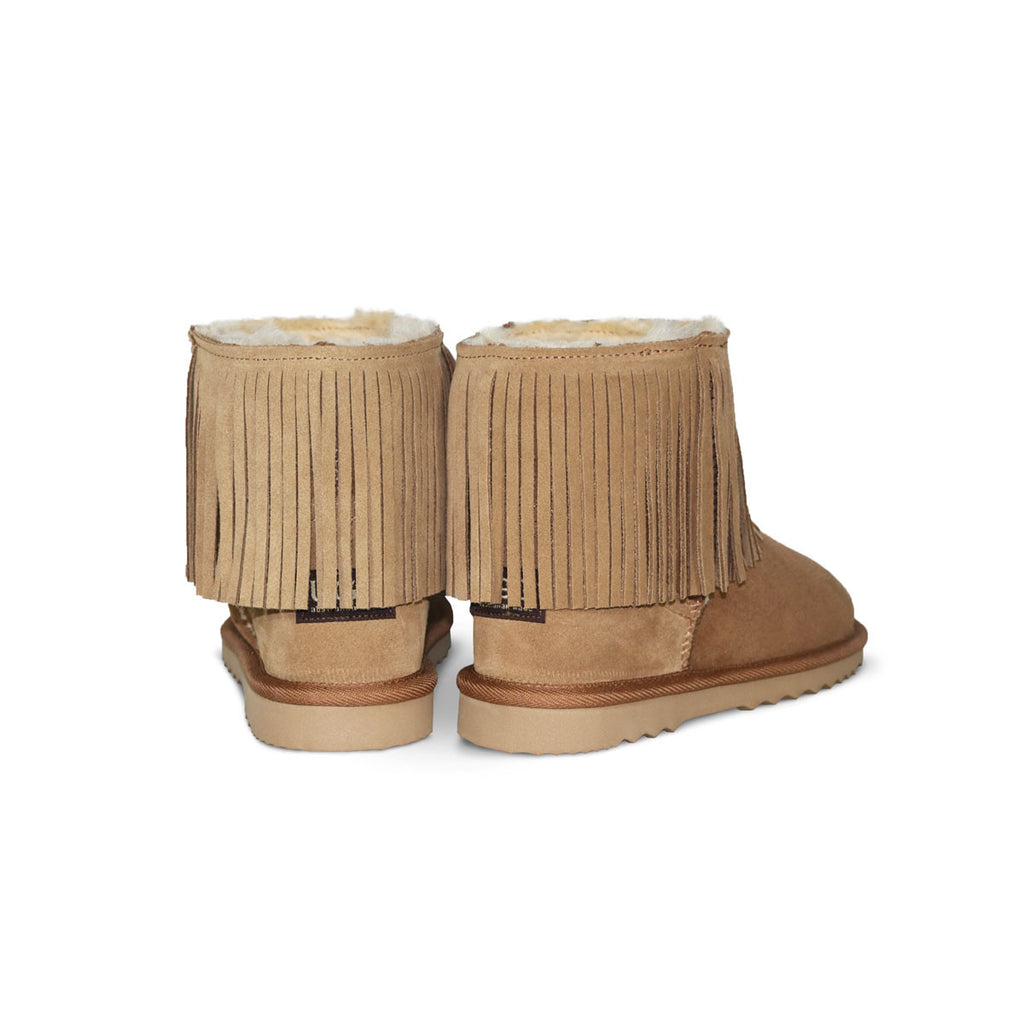 Classic Tribal Mini Chestnut sheepskin ugg boot online sale by UGG Australian Made Since 1974 Back angle view pair