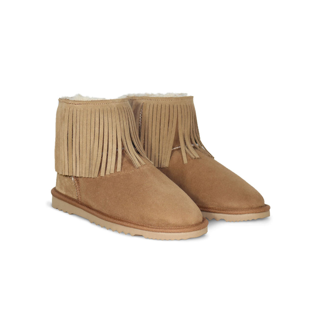 Classic Tribal Mini Chestnut sheepskin ugg boot online sale by UGG Australian Made Since 1974 Front angle view pair