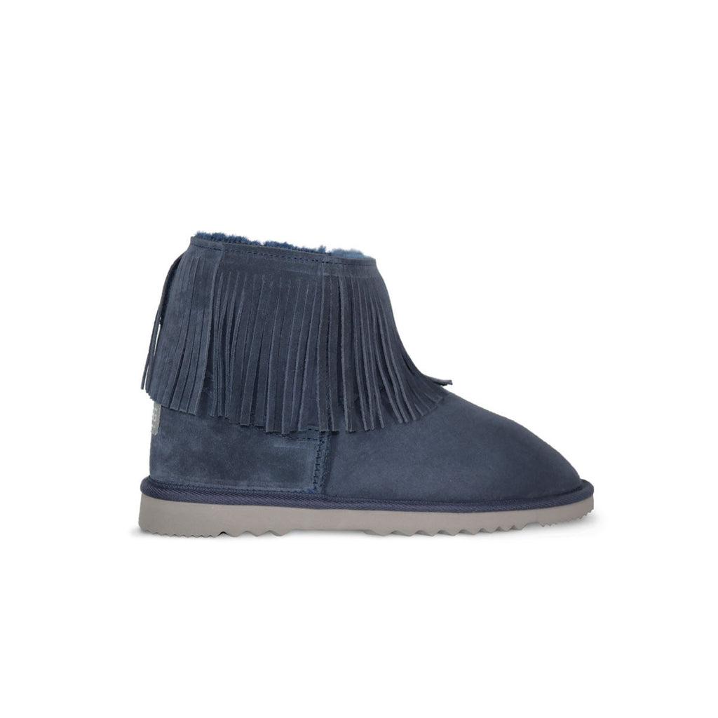 Classic Tribal Mini Navy sheepskin ugg boot online sale by UGG Australian Made Since 1974 Side view