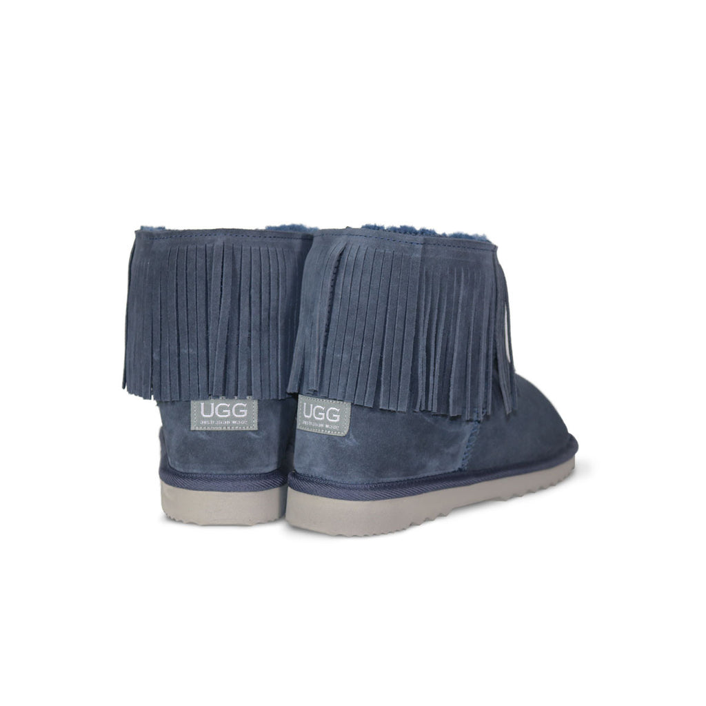 Classic Tribal Mini Navy sheepskin ugg boot online sale by UGG Australian Made Since 1974 Back angle view pair