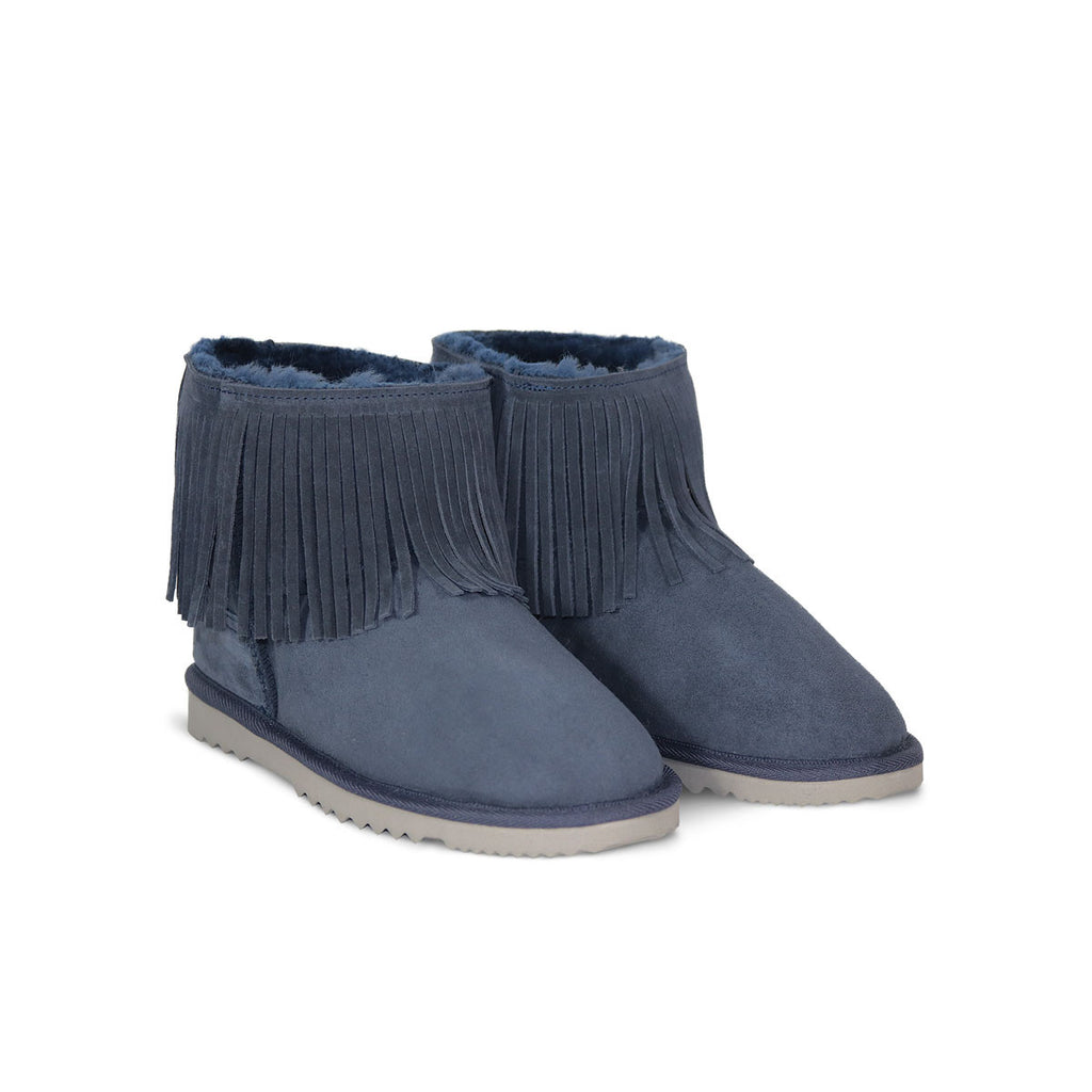 Classic Tribal Mini Navy sheepskin ugg boot online sale by UGG Australian Made Since 1974 Front angle view pair
