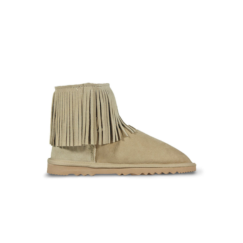Classic Tribal Mini Sand sheepskin ugg boot online sale by UGG Australian Made Since 1974 Side view