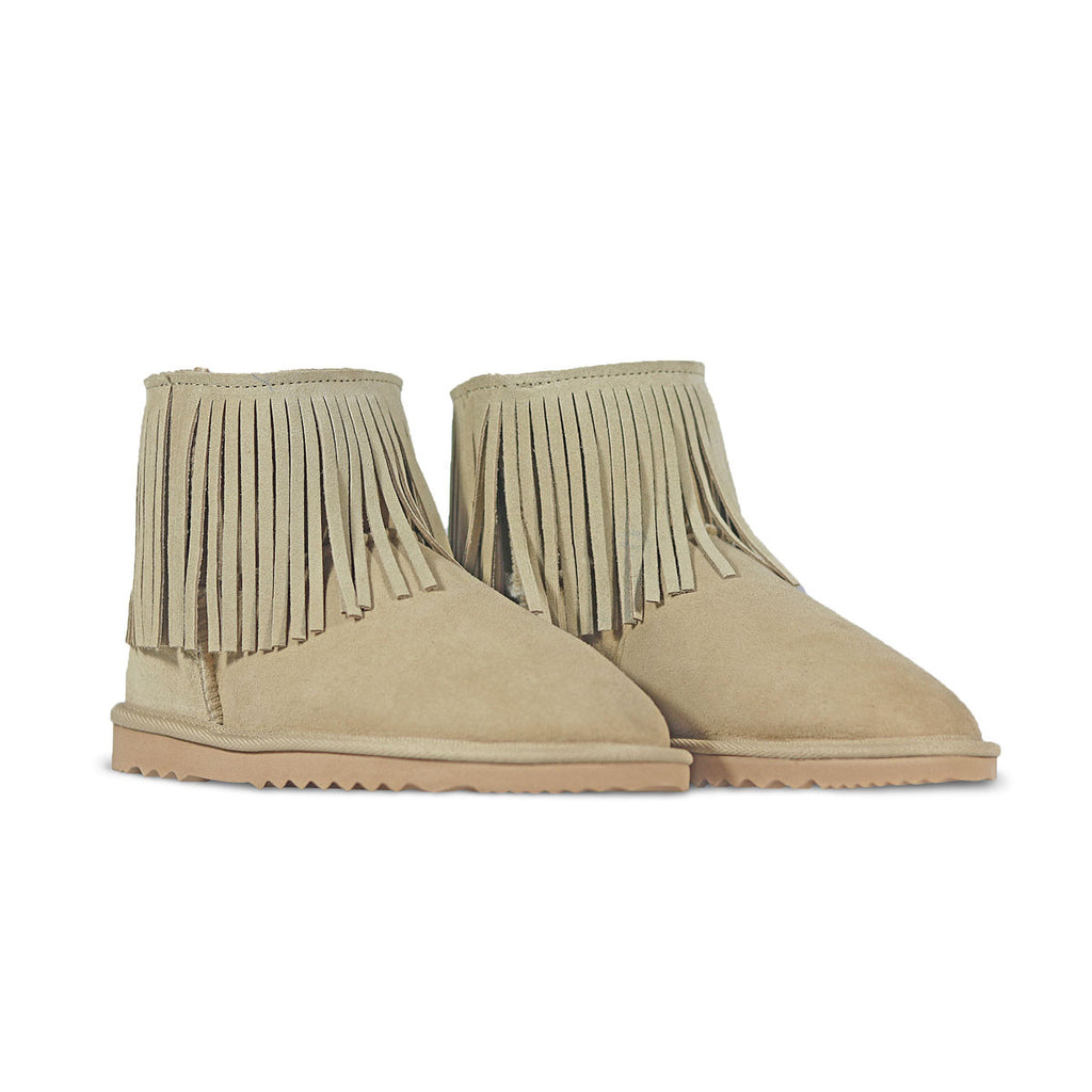 Classic Tribal Mini Sand sheepskin ugg boot online sale by UGG Australian Made Since 1974 Front angle view pair