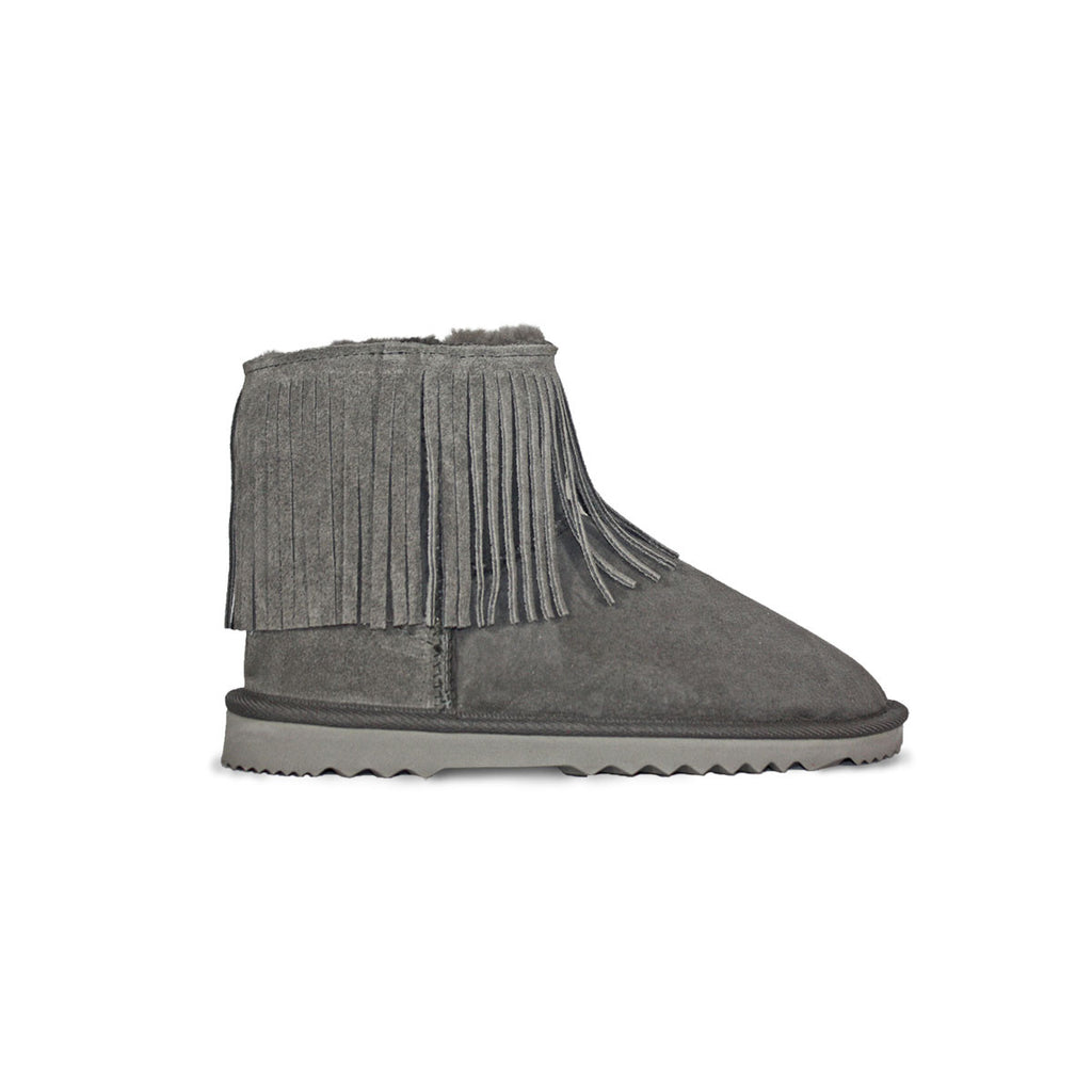 Classic Tribal Mini Slate grey sheepskin ugg boot online sale by UGG Australian Made Since 1974 Side view