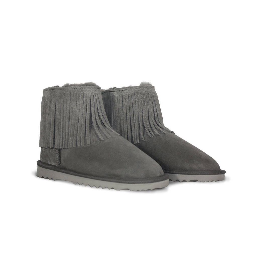 Classic Tribal Mini Slate grey sheepskin ugg boot online sale by UGG Australian Made Since 1974 Front angle view pair