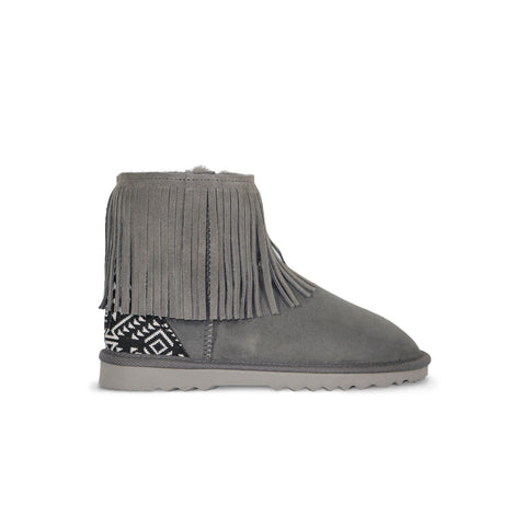Classic Tribal Mini Slate grey sheepskin ugg boot with Aztec Moon heel online sale by UGG Australian Made Since 1974 Side view