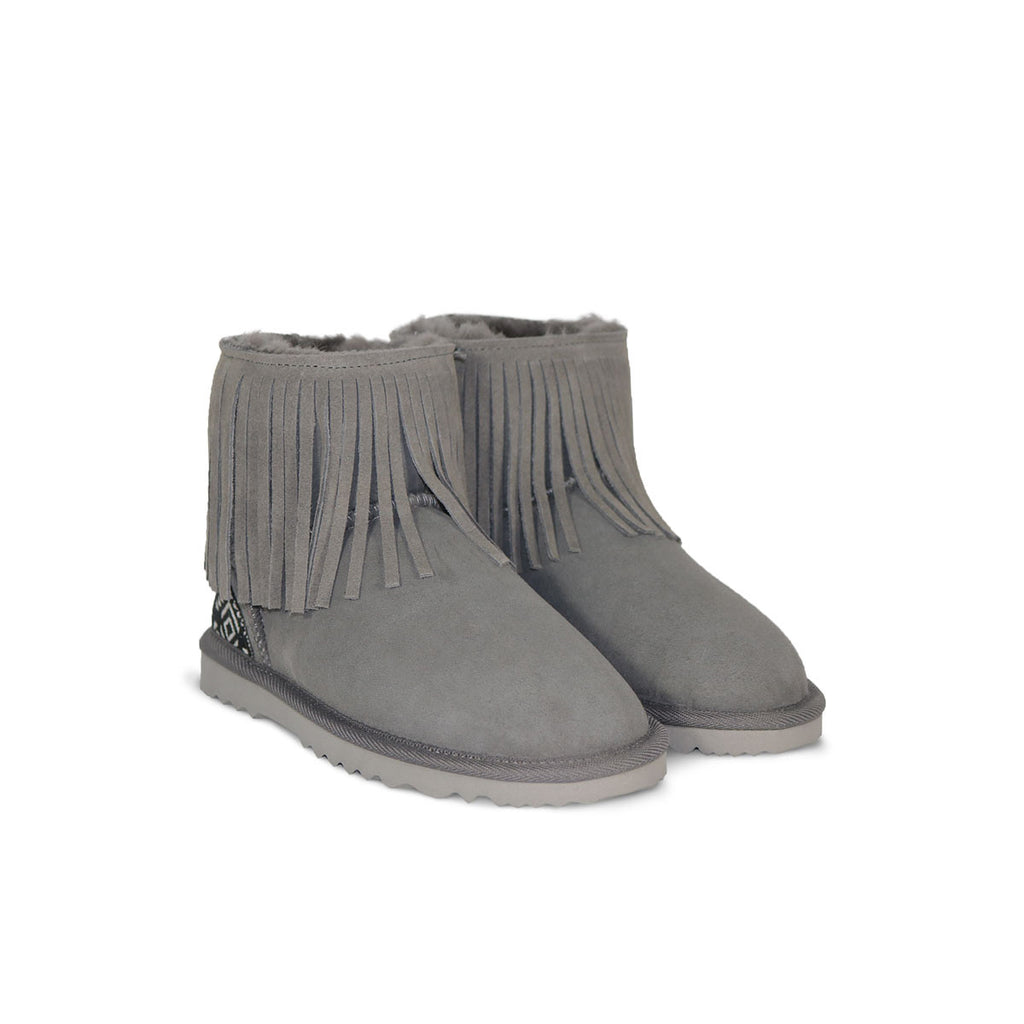 Classic Tribal Mini Slate grey sheepskin ugg boot with Aztec Moon heel online sale by UGG Australian Made Since 1974 Front angle view pair