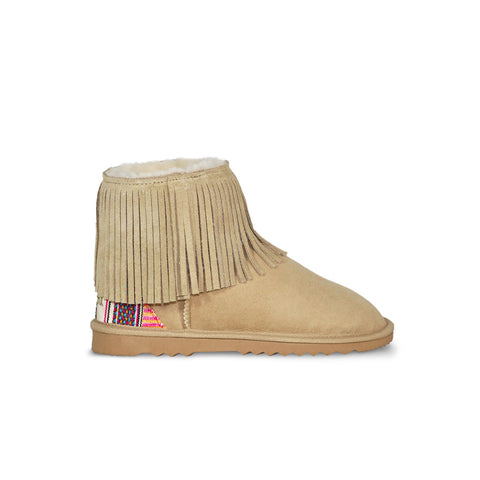 Classic Tribal Mini Sand sheepskin ugg boot with Aztec Earth heel online sale by UGG Australian Made Since 1974 Side view