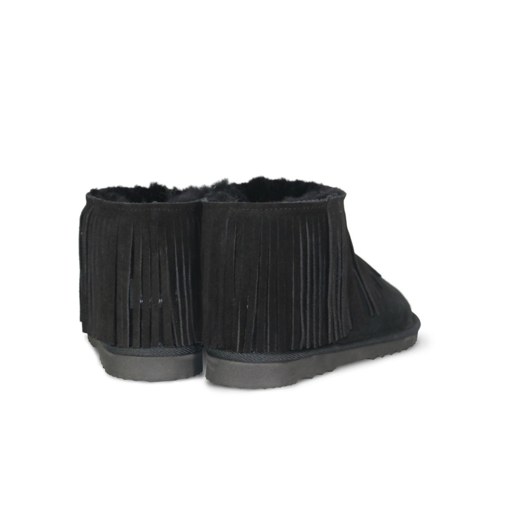 Classic Tribal Ultra Mini Black sheepskin ugg boot online sale by UGG Australian Made Since 1974 Back angle view pair