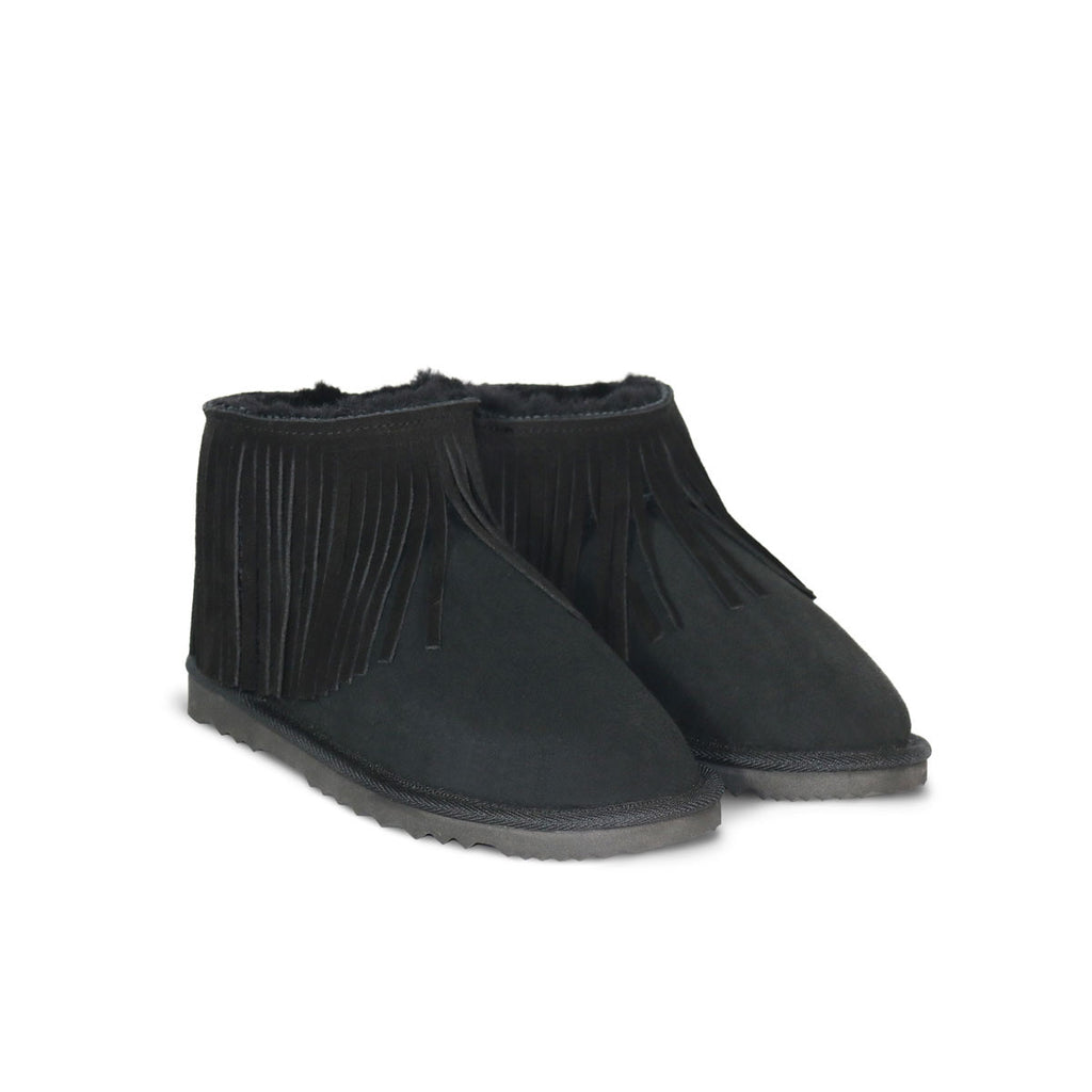 Classic Tribal Ultra Mini Black sheepskin ugg boot online sale by UGG Australian Made Since 1974 Front angle view pair