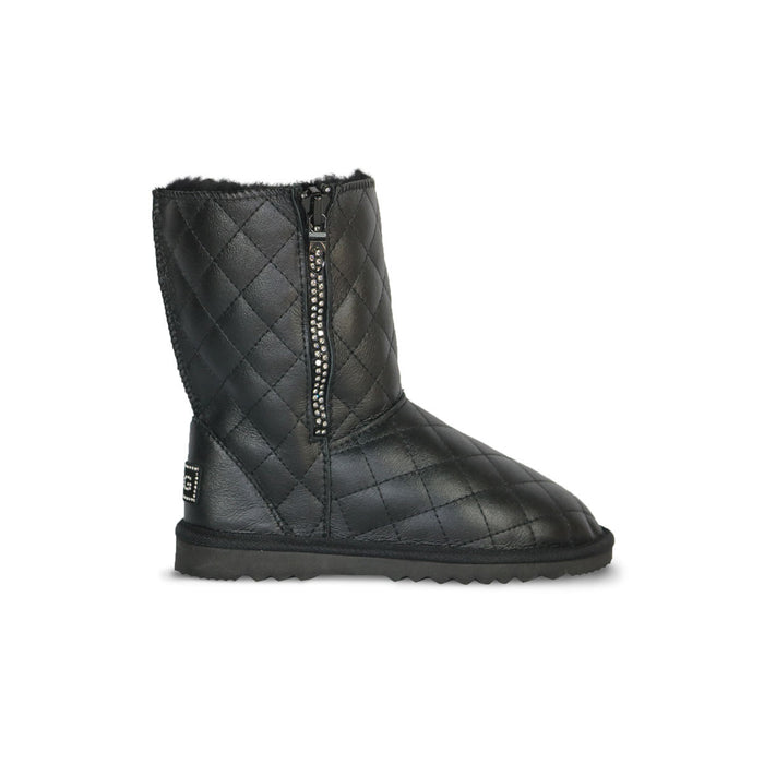 Classic SoHo Madison Mid Black Nappa sheepskin ugg boot with Swarovski crystal zip and logo online sale by UGG Australian Made Since 1974 Side view