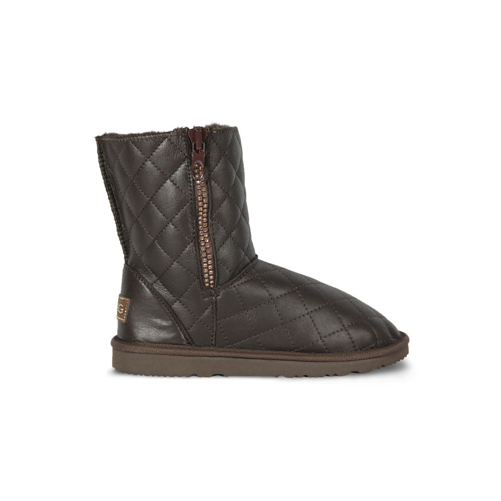 Classic SoHo Madison Mid Chocolate Nappa sheepskin ugg boot with Swarovski crystal zip and logo online sale by UGG Australian Made Since 1974 Side view