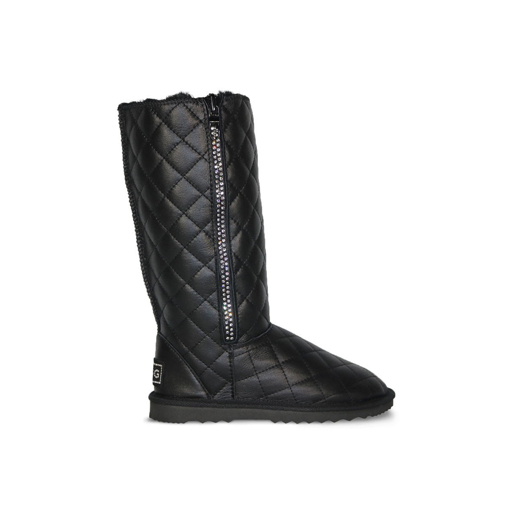 Classic SoHo Madison Tall Black Nappa sheepskin ugg boot with Swarovski crystal zip and logo online sale by UGG Australian Made Since 1974 Side view
