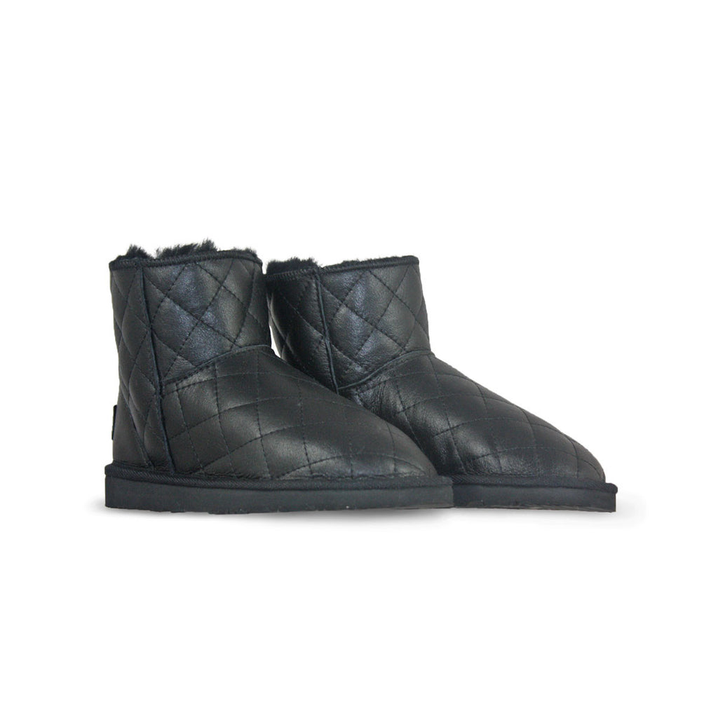 Classic SoHo Black Nappa sheepskin ugg boot online sale by UGG Australian Made Since 1974 Front angle view pair