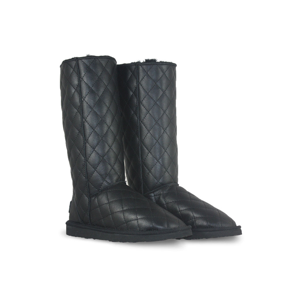 Classic SoHo Tall Black Nappa sheepskin ugg boot online sale by UGG Australian Made Since 1974 Front angle view pair