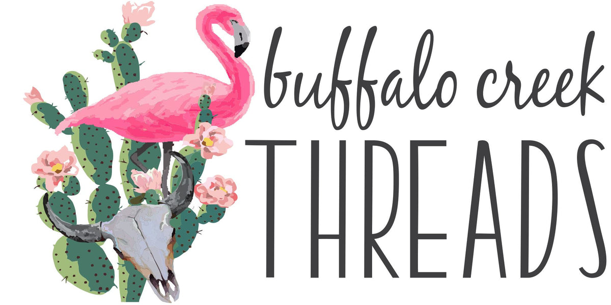 buffalo creek threads.  buffalo skull, flamingo, cactus