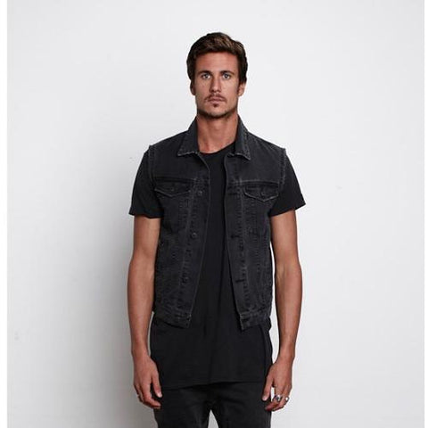 Zanerobe Rebels At Dawn Washed Denim Sleeveless Jacket