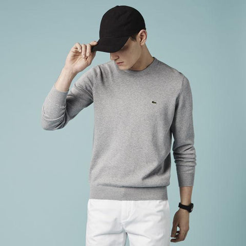 LACOSTE SEGMENT 1 COTTON CREW NECK SWEATER WITH WOVEN TRIM SilverChine/Navy Blue White AH1900-51
