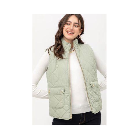 Aplaze Reversible Quilted Sleeveless Padding Vest Moss V5002