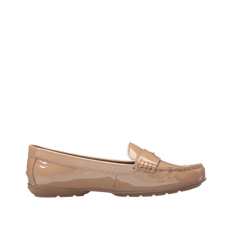Coach Women's Odette Pebble Grain Leather Flat Warm Blush Patent