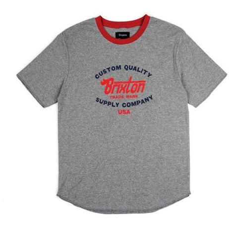 Brixton Erwin S/S Knit Heather Grey/Red 115-02097-0338