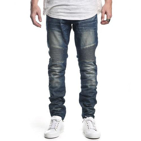 Embellish Spur Biker Denim (Stone Wash Bleach Blue) EMB15F32