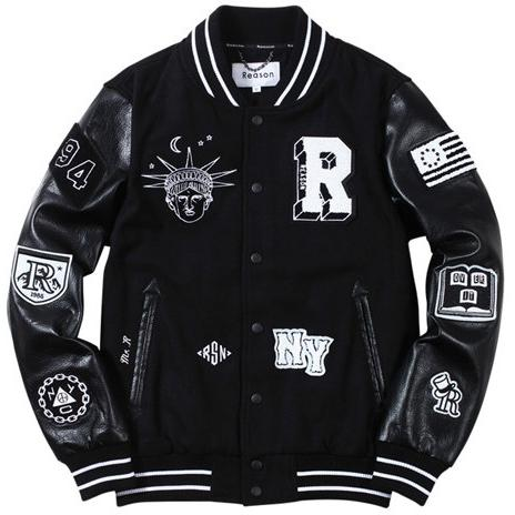 Reason BAD KIDS VARSITY JACKET - BLACK/WHITE