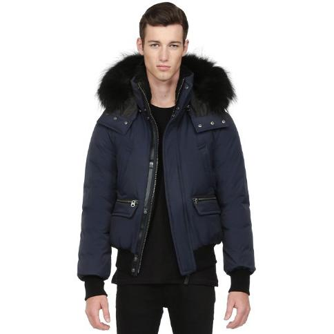 Mackage Men's COHEN-F5 NAVY LUX DOWN BOMBER WITH FUR HOOD