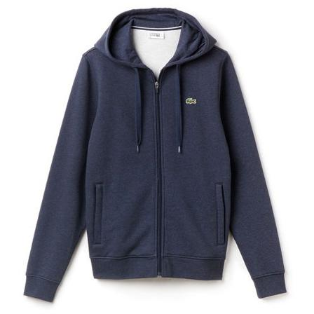 LACOSTE FULL ZIP HOODED FLEECE SWEATSHIRT D.I.Blue SH7609-51