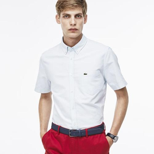 LACOSTE OXFORD SHORT SLEEVE SOLID WOVEN SHIRT Atmosphere/White CH2294-51
