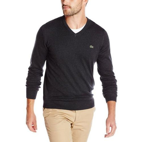 LACOSTE SEGMENT 1 COTTON V-NECK SWEATER WITH WOVEN TRIM Carthusian Chine/Navy Blue White AH1896-51