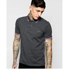 FRED PERRY SLIM FIT TWIN TIPPED SHIRT M3600-C86 GRAPHITE MARL