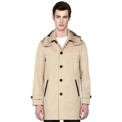 MACKAGE Lazaro Mens Neo Trench Mackintosh Rainwear Coat with Hood Sand in Sand