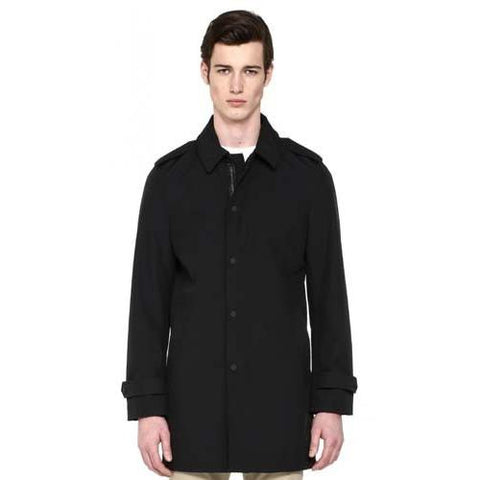 MACKAGE Jaxon Mens Black Techno Bonded Mackintosh Classic Overcoat  in Black