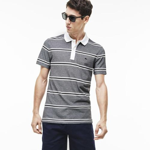 LACOSTE Men'S Short Sleeve Striped Pique Slim Fit Polo Shirt White/NavyBlue PH5841-51