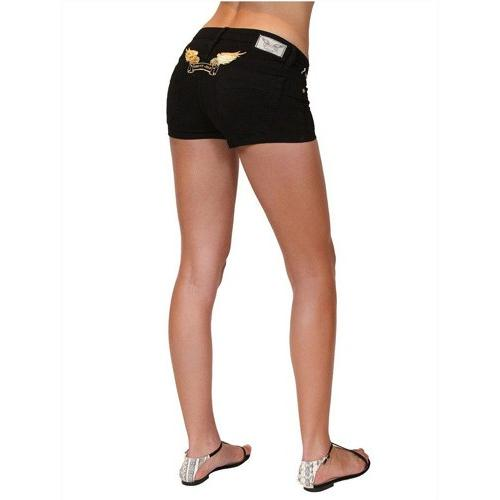 Robins Jean Marilyn Shorts Black Gold Wing