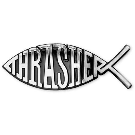 THRASHER Thrasher Fish Car Emblem SILVER 3138089