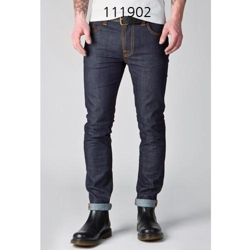 NUDIE JEANS THIN FINN DRY TIGHT BROKEN  in NAVY
