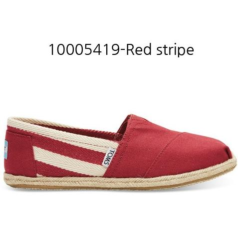 Toms Stripe University Women's Classic 10005419 Red