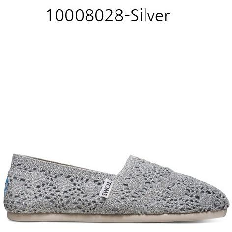 TOMS WOMENS SILVER CROCHET METALLIC  in Silver