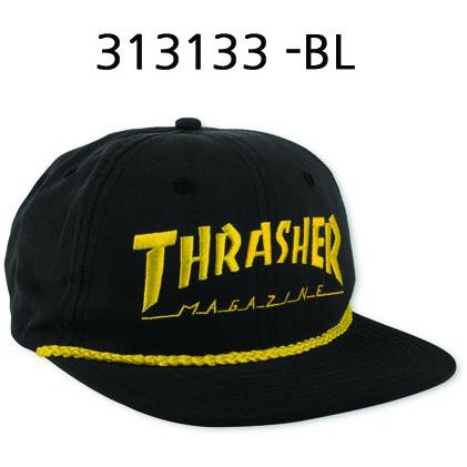 THRASHER Logo Rope Cap Black 3131334