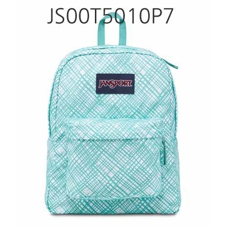 JANSPORT Superbreak Backpack Aqua/Dash/JaggedPlaid JS00T5010JJ