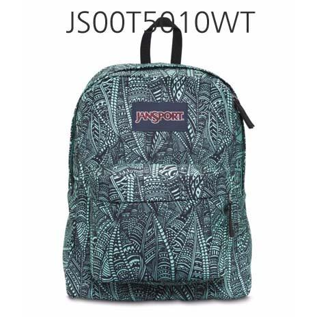JANSPORT Superbreak Backpack Aqua/Dash/ScribbledInk JS00T5010WT