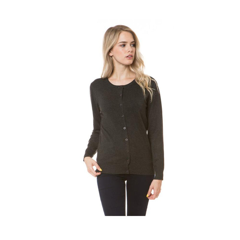 Aplaze Round Neck Button Cardigans Charcoal Grey SW280