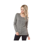 Aplaze Round Neck Button Cardigans Heather Grey SW280