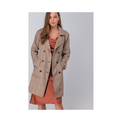 Aplaze Plaid Button Long Coat With Waist Tie Brown 0917-3335
