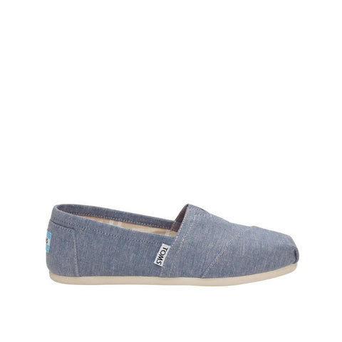 Toms Womens Canvas Slip-on Alpargata Flat Blue Chambray 10009752